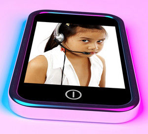 Child With Headset Talking Over The Internet