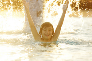 Children in water on hot summertime