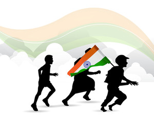 Children Silhouette On Indian Flag Waving Background.