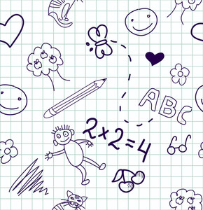 Children's Drawings. Seamless Background.