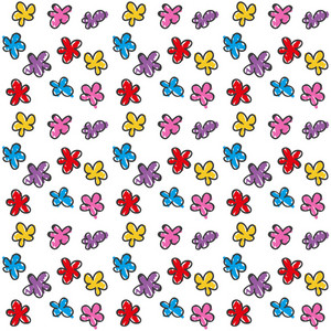 Children's Hand Drawn Pattern Of Flowers