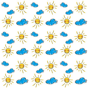 Children's Hand Drawn Pattern Of Suns And Clouds