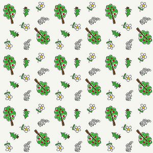 Children's Hand Drawn Pattern Of Trees And Flowers