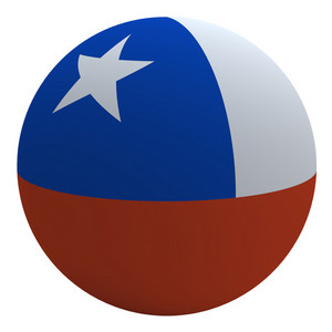 Chile Flag On The Ball Isolated On White.
