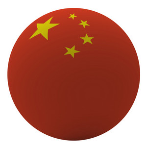 China Flag On The Ball Isolated On White.
