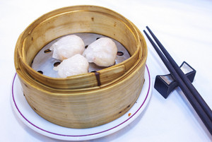 Chinese Dim Sum in bamboo steamer