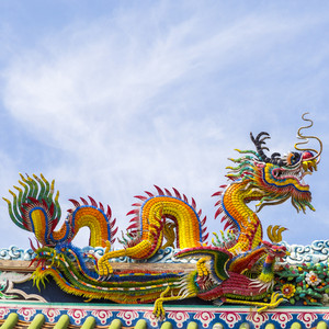Chinese dragon on blue sky with cloud top of temple