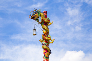 Chinese dragon on blue sky with cloud