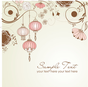Chinese Lanterns. Stylish Floral Background
