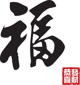 Chinese New Year Calligraphy. Translation: Good Fortune