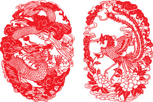 Chinese Paper Cutting - Dragon & Phoenix