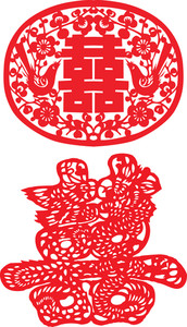 Chinese Paper Cutting - Twin Happiness