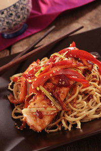 Chinese Style Salmon Fillet With Noodles