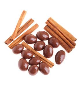 Chocolate Almonds And Cinnamon Sticks