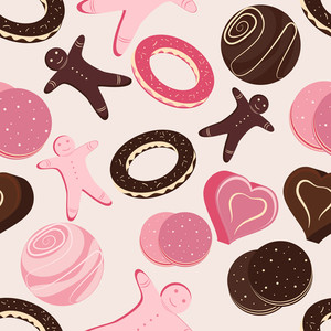 Chocolate And Pastries Seamless Pattern.