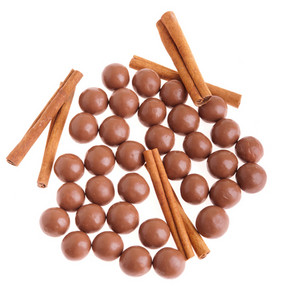 Chocolate Balls And Cinnamon Sticks