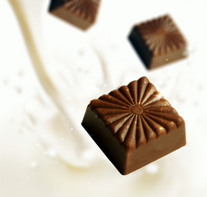 Chocolate Blocks Falling Into Milk