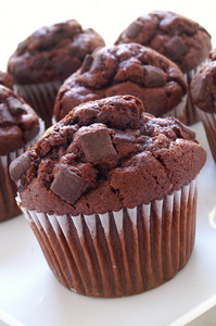 Chocolate Chip Muffins On White Background