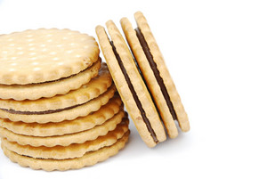 Chocolate Cookies Stack On White
