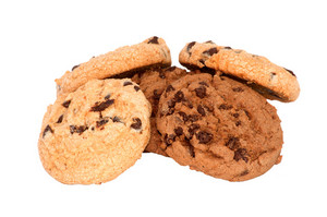 Chocolate Cookies With Chips Isolated