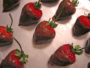 Chocolate covered strawberries freshly prepared.