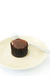 Chocolate cup cake on white dish