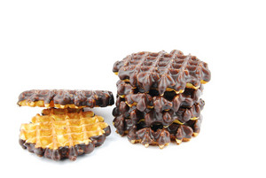 Chocolate Waffles Stacked On White