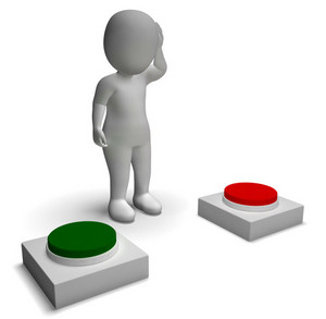 Choice Of Pushing Buttons 3d Character Showing Indecision