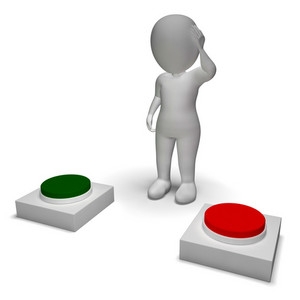 Choice Of Pushing Buttons 3d Character Shows Indecision