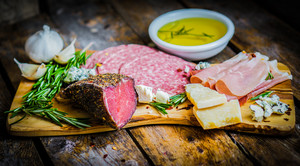 Chopping Board Of Assorted Cured Meats