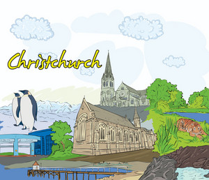 Christchurch Doodles Vector Illustration