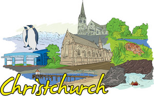 Christchurch Vector Doodle