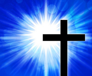 Christian Cross Blue Background