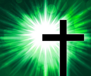 Christian Cross Green Background