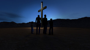 Christian Family At The Cross
