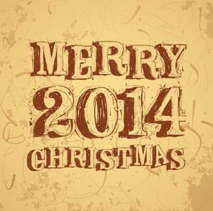 Christmas And New Year Greeting Card Vector Template.