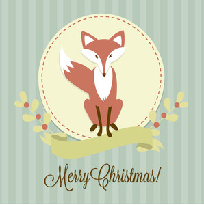 Christmas Background With A Fox
