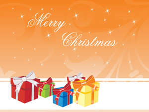 Christmas Background With Colorful Gift