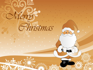 Christmas Background With Cute Cartoon Santa