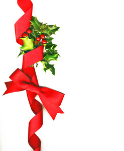 Christmas Background With Holly And Red Bow
