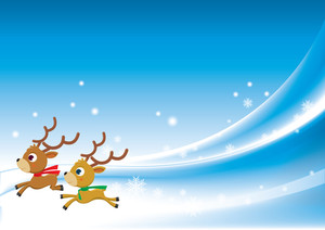 Christmas Background With Reindeers