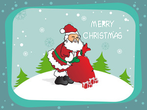 Christmas Background With Santa And Gift Bag