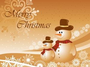 Christmas Background With Two Snowman