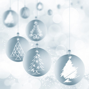 Christmas Ball Ornaments With Ribbons On White