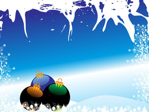 Christmas Ball With Blue Background And Floral Pattern