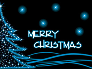 Christmas Blue Light In Tree
