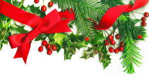 Christmas Border With White Empty Tag Isolated On White Background