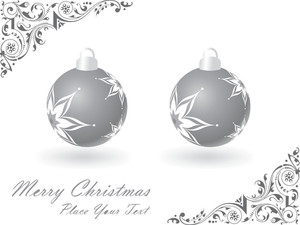 Christmas Bulbs With Floral Ornaments On White Background