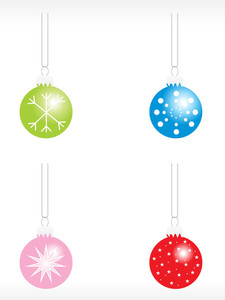 Christmas Bulbs With Snowflakes Icon Set