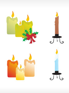 Christmas Candle Icon Set